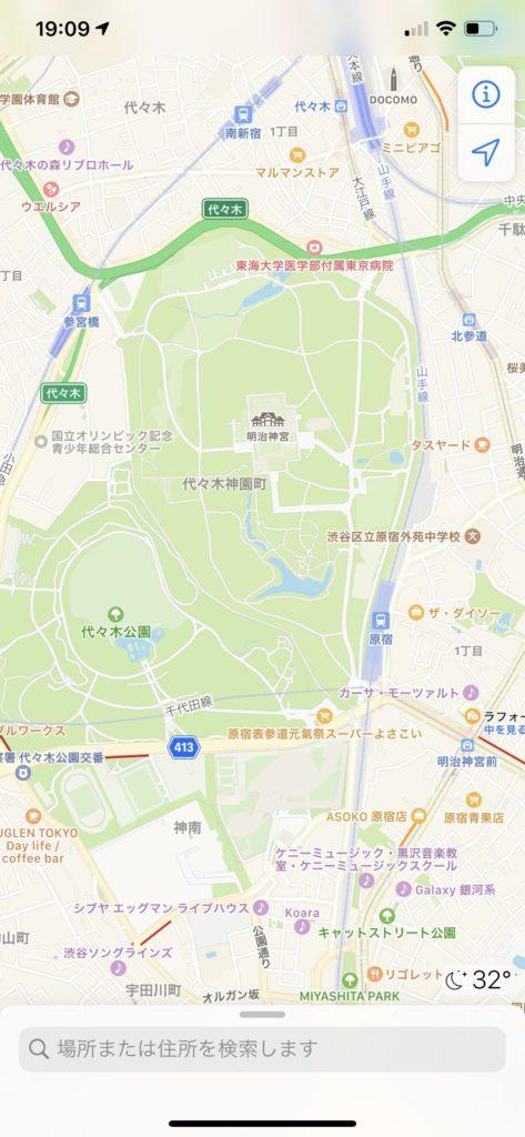 iPhoneのApple標準マップ画面 明治神宮付近