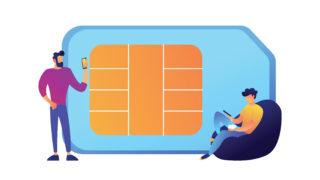 Businessmen using mobile phones and huge SIM card vector illustration
