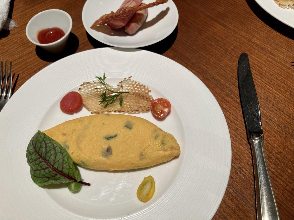 リッツカールトン京都の朝食は野菜のオムレツ